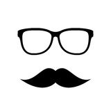 Hipster vector icon, eyeglasses and mustaches Stock Image
