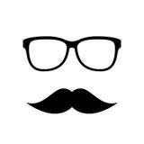 Hipster vectorpictogram, oogglazen en snorren Stock Afbeelding