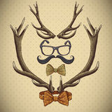Hipster vintage background with deer antlers Stock Photography