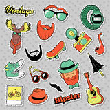Hipster Vintage Fashion Stickers, Patches, Badges with Beards, Mustache and Deer. Vector Doodle stock illustration