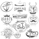 Hipster vintage labels set black Stock Photography