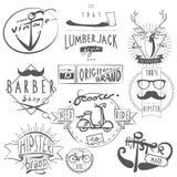 Hipster vintage labels set black vector illustration