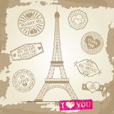Hipster or vintage postcard background - Eiffel Tower with love prints stock illustration