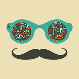 Hipster vintage sunglasses with birds and flowers. Stock Photo