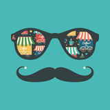 Hipster vintage sunglasses with coffee shops and cups. Royalty Free Stock Photos