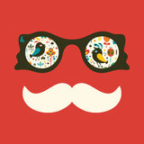 Hipster vintage sunglasses with colorful birds and flowers. Royalty Free Stock Photo
