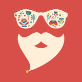 Hipster vintage sunglasses with colorful Christmas flowers. Royalty Free Stock Photos