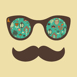 Hipster vintage sunglasses with colorful flowers. Royalty Free Stock Photography