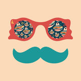 Hipster vintage sunglasses with paper Christmas toys. Hipsters, set 15. Hipster vintage sunglasses with paper Christmas toys Stock Photography