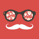 Hipster vintage sunglasses with Santa Claus. Royalty Free Stock Photo
