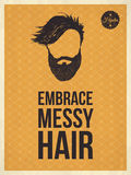 Hipster vintage trendy look quotes, Embrace messy hair Stock Image