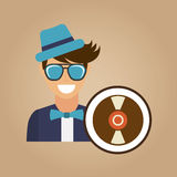Hipster vynil disk vintage background icon Royalty Free Stock Images