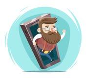 Hipster Wave Hand Mobile Phone Cartoon design Vector Illustration Stock Image