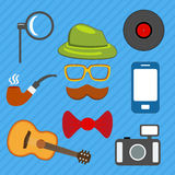 Hipster web and mobile icons set. Vector. stock illustration