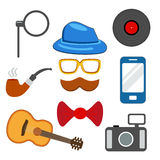 Hipster web and mobile icons set. Vector. Royalty Free Stock Images