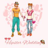Hipster wedding card Royalty Free Stock Photo