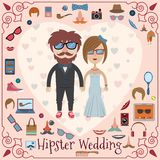 Hipster wedding card Royalty Free Stock Images