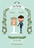Hipster wedding invitation card bride & groom cartoon Royalty Free Stock Photo