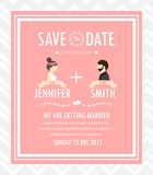 Hipster wedding invitation card, vector Royalty Free Stock Photography