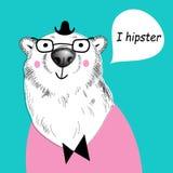 Hipster white bear Stock Images