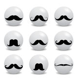 Hipster white smilies with mustache. On white Royalty Free Stock Photos