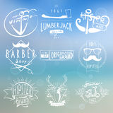Hipster white vintage labels background Stock Photo