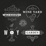 Hipster wine logo or baners design on chalkboard. Vector illustration Royalty Free Stock Photography