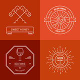 Hipster Wine Logo Stock Images