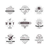Hipster wine making grape vector labels, logos, emblems set Royalty Free Stock Photography