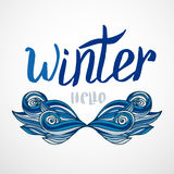Hipster winter card with creative mustache. Vector calligraphic word with blue decor. Royalty Free Stock Photo