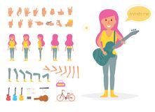 Hipster woman for animation. Stock Photography