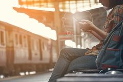 Hipster woman backpacking and searching a destination. Journey on holiday concept stock photos