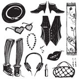 Hipster Woman Clothing and Accessories Collection Stock Photography