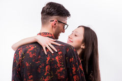Hipster woman embracing her hipster boyfriend Royalty Free Stock Images