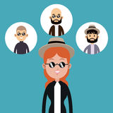 Hipster woman hat sunglasses-faces man icons Stock Photo