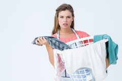 Hipster woman holding laundry basket Royalty Free Stock Photography