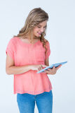 Hipster woman holding tablet pc Stock Photography