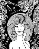 Hipster Woman and Make-up set d,drawing doodle style Stock Photos