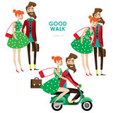 Hipster woman and man on scooter Royalty Free Stock Images