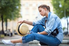 Hipster woman in park fashion city style Royalty Free Stock Photo