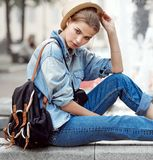 Hipster woman in park fashion city style Royalty Free Stock Photography