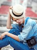 Hipster woman in park fashion city style Stock Photo