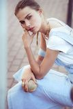 Hipster woman in park fashion city style Royalty Free Stock Photos