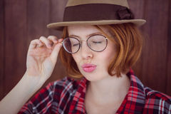 Hipster woman posing with her eyes closed Royalty Free Stock Images