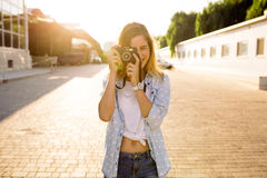Hipster woman with retro film camera royalty free stock image