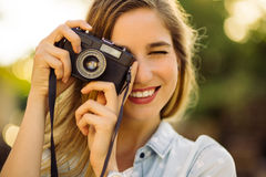 Hipster woman with retro film camera royalty free stock photos