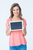 Hipster woman showing tablet pc Stock Images