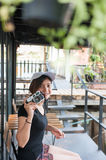 Hipster woman taking photos with retro film camera ,Girl Adventu Stock Images