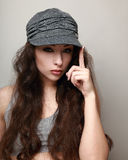 Hipster woman in trendy grey cap Stock Photography