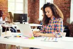 Hipster Woman use Laptop huge Loft Studio.Student Researching Process Work.Young Business Team Working Creative Startup Royalty Free Stock Photo